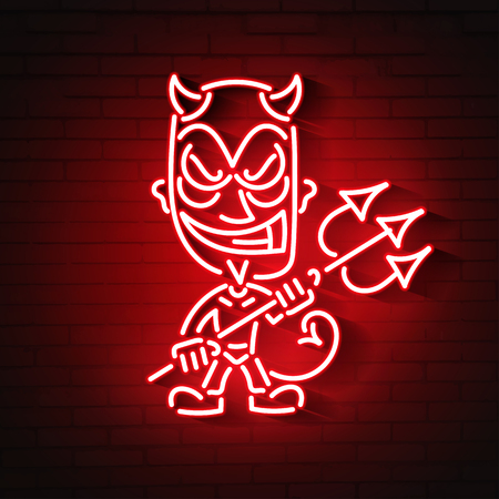 red devil neon.Young demon or devil, the devil carries a trident Çizim