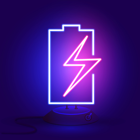 Neon battery with zipper on the stand glows in the dark. Vector illustration. Vettoriali