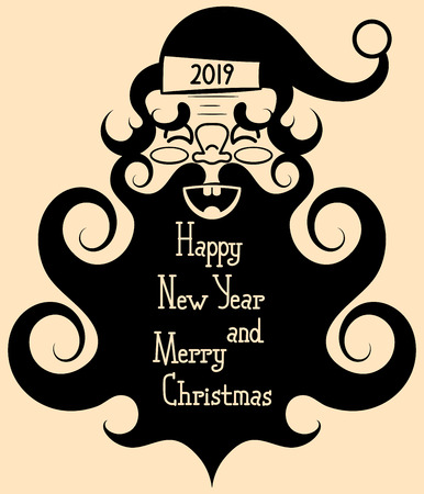 Vintage Santa Claus with a big beard smiles.Happy new year and merry Christmas.Vector illustration