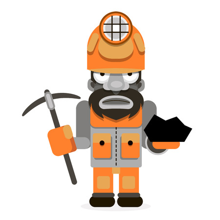 Illustration of a coal miner striking working using retro style .