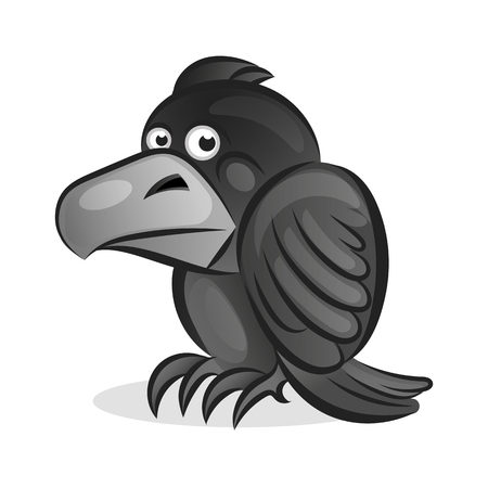 Cartoon cute Raven vector illustration on white background