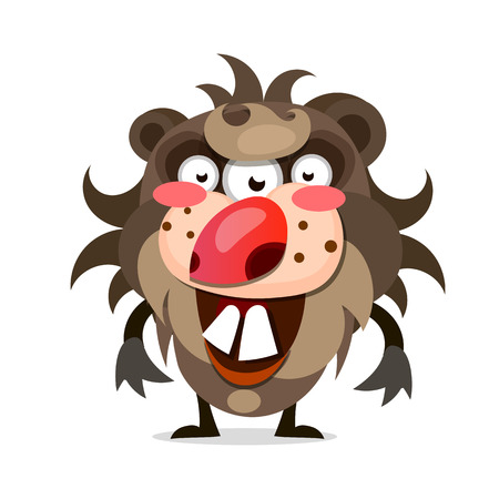A cartoon illustration of a hairy monster with a big mouth of sharp teeth.