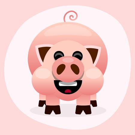 Pink cartoon pig smiling vector illustration on white background Illustration