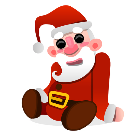 Santa Claus doll sitting on white background vector illustration
