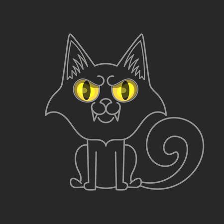 Black cat isolated. Halloween vector illustration on black background