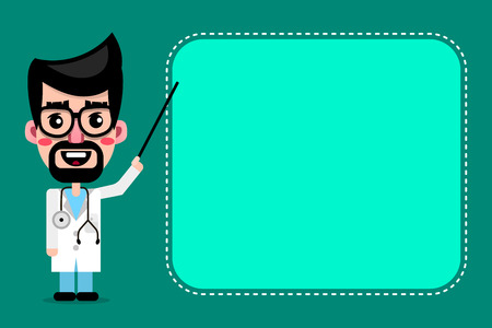 Cartoon cute doctor with glasses smiling vector illustration Illustration