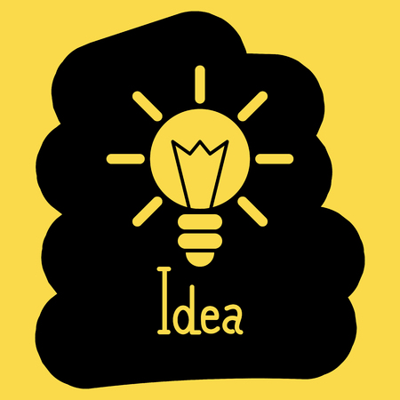 Light bulb vector illustration of the idea of a black and yellow background Vettoriali