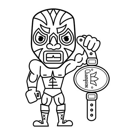 Fun cartoon mexican wrestler luchador pose. Vector illustration Illustration