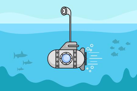 Cartoon-U-Boot mit dem Periskop und dem Fenster. Vektorillustration