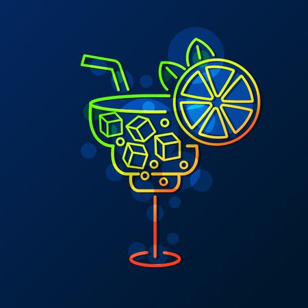Cocktail neon sign, bright signboard, light banner. Cocktail logo emblem