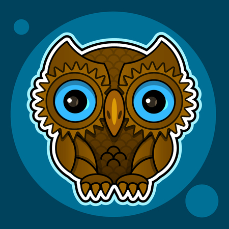 Owl or owl bird sketch vector isolated icon. Wild forest feathered night bird of prey sits wild fauna and Zoology
