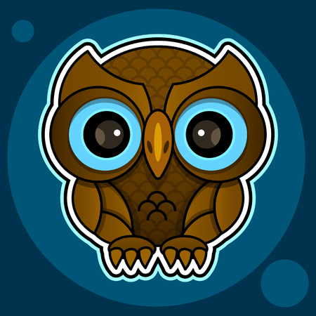 Owl or owl bird sketch vector isolated icon. Wild forest feathered night bird of prey sits wild fauna and Zoology Иллюстрация