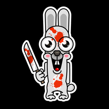 Halloween evil bunny rabbit knife, blade cartoon funny monster. Vector illustration Illustration