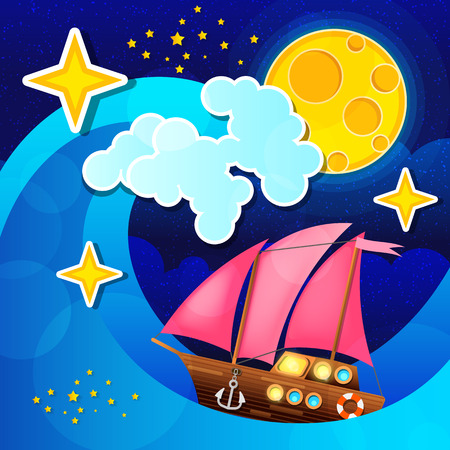 Night storm waves and wind a sailing ship on the sea. Vector illustration.