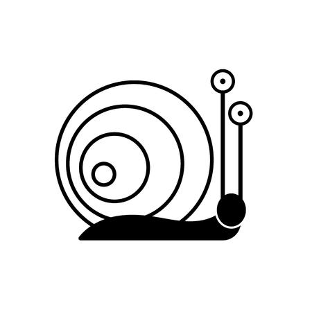 Sign snail. Snail symbol. Isolated black silhouette snail on white background. Icon snail. Vector illustration Ilustracje wektorowe