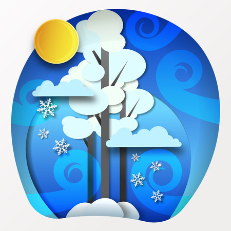 Paper winter forest landscape snow and blowing snow vector illustration