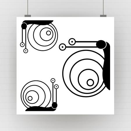 Firmar caracol. Símbolo de caracol. Caracol silueta negra aislada sobre fondo blanco. Caracol de icono. Ilustración vectorial