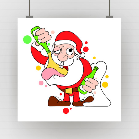 Santa Claus Dancing and Drinking Vector Cartoon - Drunk Claus holding a champagne bottle. Ilustracja