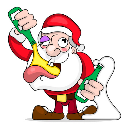 Santa Claus Dancing and Drinking Vector Cartoon - Drunk Claus holding a champagne bottle. Ilustração