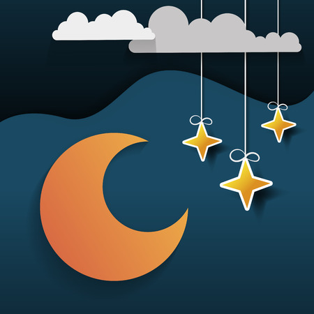 Paper art moon, fluffy clouds and stars in midnight.Origami paper art style. Vector illustration.  イラスト・ベクター素材