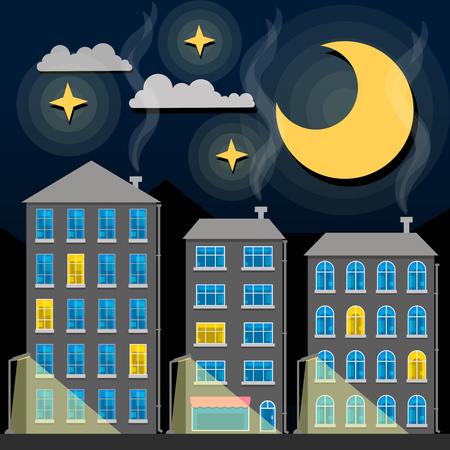 Night city skyline silhouette. Old traditional rooftops and twilight sky. Cartoon vector illustration, from sides.