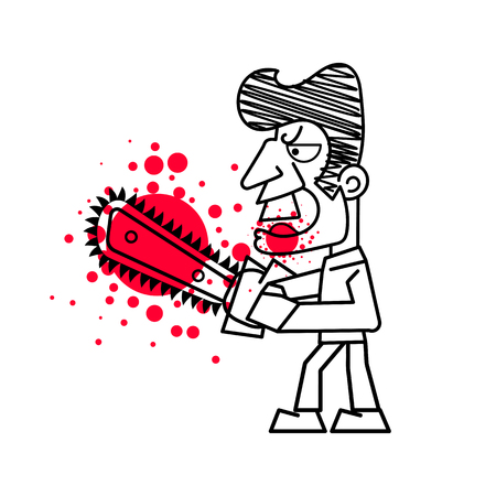 Killer with Bloody knife in hand vector illustration. Isolated images on white background.