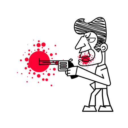 Killer with firearms vector illustration on white background.