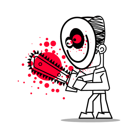 Masked killer with chainsaw vector illustration on white background. Happy Halloween.