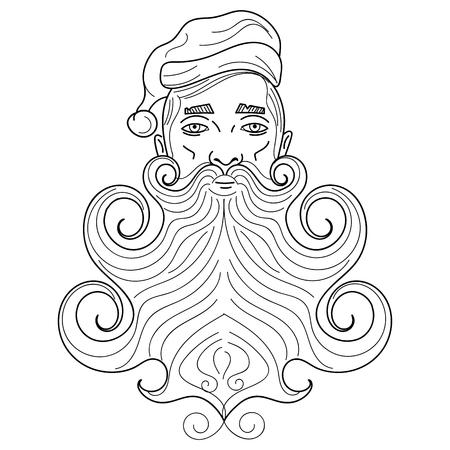 Santa Claus vector portrait long beard vector illustration
