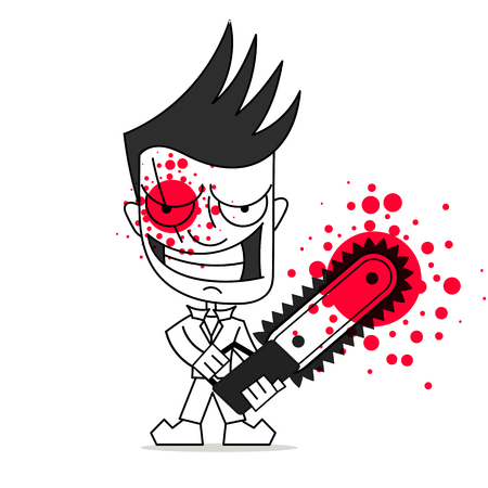 Killer with chainsaw vector illustration on white background. Happy Halloween. Ilustracja