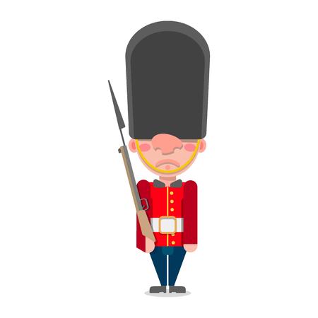 Illustrazione vettoriale di una guardia britannica con una pistola si leva in piedi.