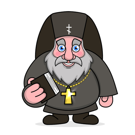 Orthodox priest with Bible and cross on neck vector illustration.