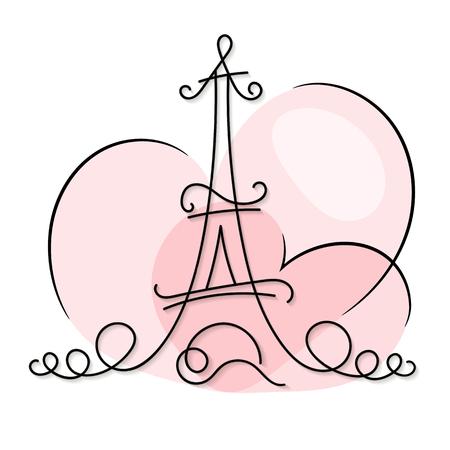 One line style Paris city skyline. Simple modern minimalistic style vector illustration.
