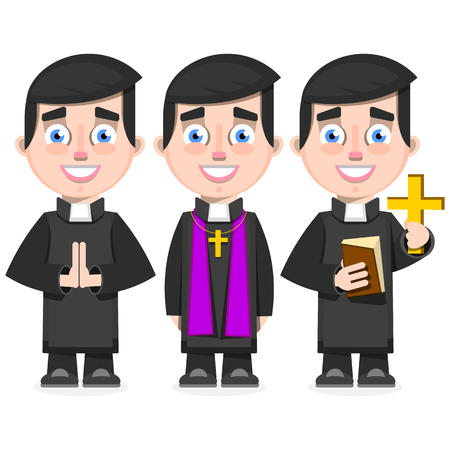 set of Catholic priest in cartoon style vector illustration on white background