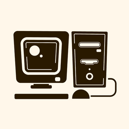Vintage computer in the style of flat . Vector illustration