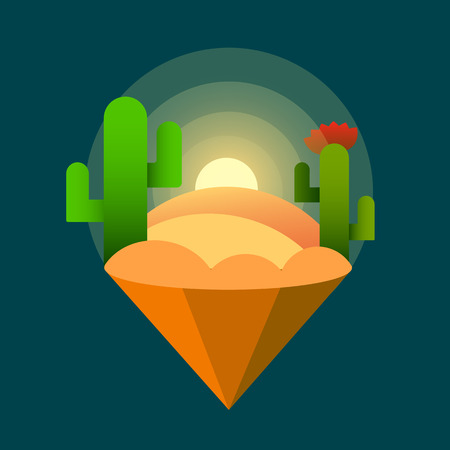 Desert Sunset Cacti . Vector Illustration On Dark Background. 矢量图像