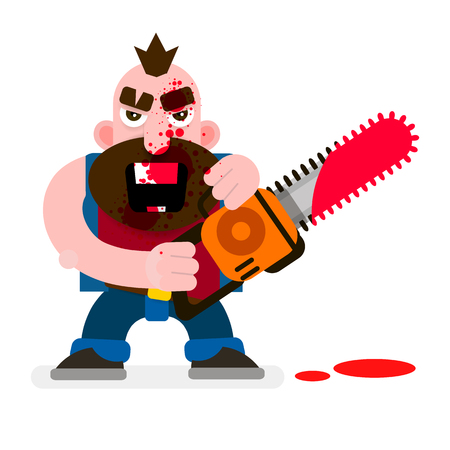 Crazy Murderer Covered In Blood With A Chainsaw Happy Halloween. Design For T-shirts, And Other Items.