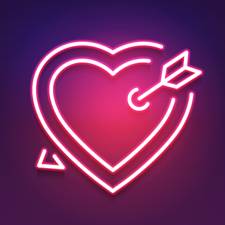 Bright Heart. Neon Sign. Retro Neon Heart Sign. Design Element For Happy Valentine's Day. Ready For Your Design, Greeting Card, Banner. Vector Illustration.