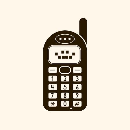 Retro vintage mobile phone icon vector illustration on light background. Çizim