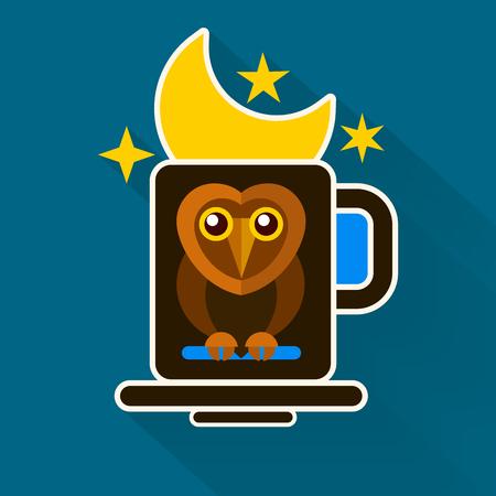 Night Owl And Moon Original Design . Vector Illustration