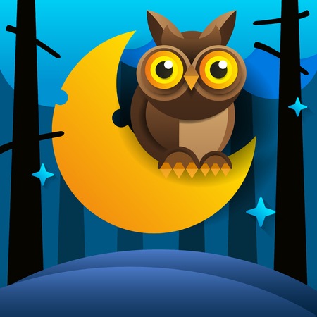 Cute Cartoon Pink Owl Sits On The Slumbering Crescent Moon In The Night Sky With Stars Çizim