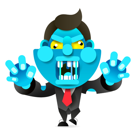 Mad Zombie Runs After The Victim. Happy Halloween. Vector Illustration For Your Design. Illustration