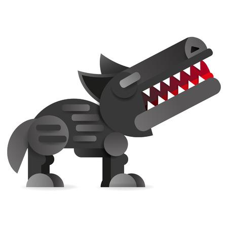 Big bad cartoon wolf. Vector clip art illustration on white background