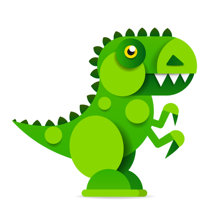 Cute cartoon dinosaur on white background. Prehistoric era. Vector illustration