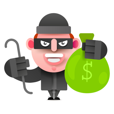 Thief With A Bag Of Money Running From Prosecution. Vector Illustration On White Background.