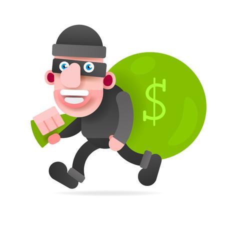 Dief Met Een Zak Met Geld Op De Loop Van De Aanklager. Vectorillustratie Op Witte Achtergrond. Vector Illustratie