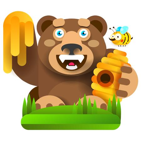 Bear With Honey In Nature Vector Illustration For Your Design Ilustração