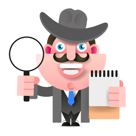Detective Holding A Magnifying Glass. Vector Illustration On White Background