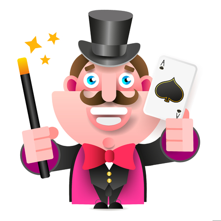 Magician With Magic Wand And Card In Hand Vector Illustration On White Background Imagens - 124796594