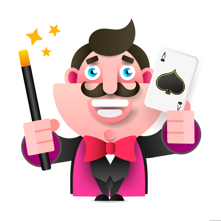 Magician With Magic Wand And Card In Hand Vector Illustration On White Background Imagens - 124796595